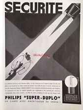 Publicité 1933 Phare Philips super Duplo automobile automobilia cyclisme vélo