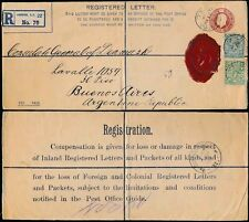 GB DANISH CONSULATE 1913 REGISTERED STATIONERY to ARGENTINA + SEAL + DGK PERFIN