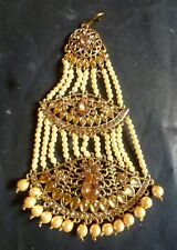 Pearl CZ Indian pakistani Wedding Kundan Long hair Chapka Jhumar Pasa bc