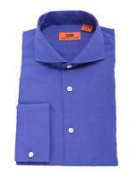 Steven Land Royal Blue Textured Spread Collar French Cuff Cotton Dress Shirt