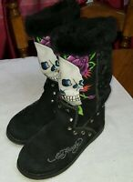 ED HARDY WOMEN'S BLACK LINED WINTER BOOTS SKULLS GREAT PRE-OWNED  SIZE 7