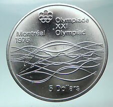 1975 CANADA Queen Elizabeth II Olympics Montreal Swimming Silver $5 Coin i82002