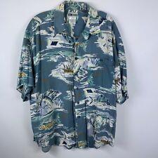 Untied XL Button Front Shirt Hawaiian Sword Fish Fishing Ocean Deep Blue