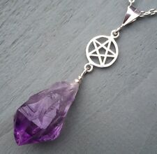 Solid 925 Sterling Silver pentagram & Natural Raw Amethyst Point Pendant Wicca