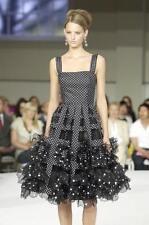 Oscar de la Renta NWT $5K Runway Black White Polka Dot Chiffon Gown Dress 8US