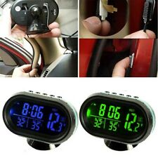 1x Digital Car LCD Clock In/Outdoor 12-24V Temperature Thermometer Voltage Meter