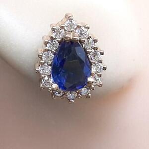 Deco 1.80ctw Blue Sapphire & Diamond Cut Sapphire 14K Yellow Gold 925 Earrings