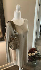 Kathy Van Zeeland Med. Size Tan Crystal and Gold Beaded Clutch Hand Shoulder Bag