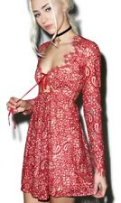 NWT For Love & Lemons Charlie Mini red Lace  Dress Long Sleeve Size XS/S $298
