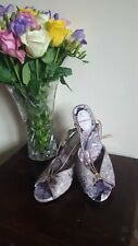 Purple Gold Velvet Patent Leather Strappy Open Tow Sandal Shoe Size 5 Joe browns