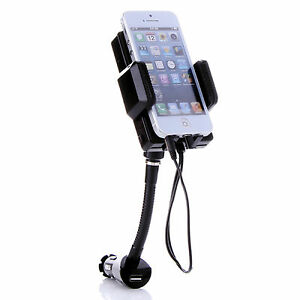 FM TRANSMITTER HOLDER CHARGER HANDS FREE CAR 8PIN PLUG FOR iPHONE  HTC