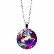 Cabochon Glass Pendant Chain Necklace Tile Necklace Unicorn Photo Tibet Silver