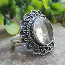 Crystal Quartz Sterling Solid Silver Ring Beautiful Jewelry - Size O
