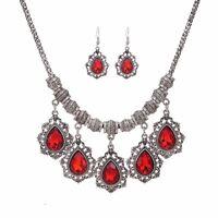 Women Crystal Bib Choker Collar Statement Chain Pendant Set Necklace Earrings