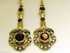 CE103 Genuine 9ct Yellow Gold NATURAL GARNET & Pearl Vintage Drop Earrings