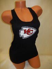 "0226 Womens Nfl Kansas City Chiefs ""Razorback"" Football Tank Top New Black"