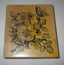 """Rosa Rosaceae Rubber Stamp PSX Rose Plant 4"""" High Flowers Rare Wood Mounted"""