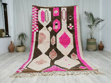 "Moroccan Handmade Vintage Boujaad  Wool Rug 5'4""x9 Abstract Primitive Berber Rug"