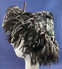New listing Vtg Bonwit Teller 1960s Black Silk Fringe Leaf Conical Pointed Pixie Beehive Hat