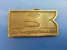 Vtg KAWASAKI Belt Buckle 1977 Bergamot K Good Times Roll 3D Pewter MC RARE VG+
