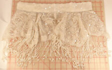 Large white shawl collar applique iridescent beaded paisley sequins fringe 15""