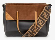 Fendi Flip Large Leather and Suede Tote Bag New