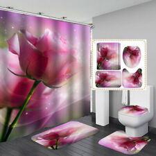 Pink Rose Shower Curtain Bath Mat Toilet Cover Rug Bathroom Decor