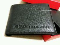 HUGO BOSS WALLET 'MILET' '50205235' BI FOLD BLACK GRAINED LEATHER COIN POCKET