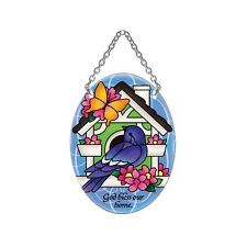Joan Baker Designs BIRD & BIRDHOUSE Bless Our Home Glass Small Oval Suncatcher