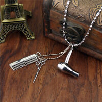 Hair Dryer/Scissor/Comb Dangle Pendant Necklace Hair Stylist Jewelry Gift~J A8A
