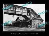 OLD LARGE HISTORIC PHOTO OF NEWBURGH NEW YORK, THE RAILROAD DEPOT STATION c1900