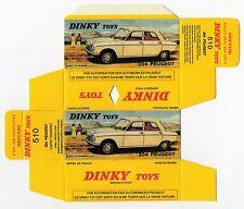 Boîte copie repro Dinky Toys 510 Peugeot 204 capot ouvrant ( reproduction box )