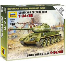 Zvezda 6160 Soviet Medium Tank T-34/85 Snap Fit 1:100 Military Model Kit