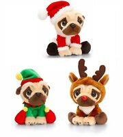 Keel Toys Pugsley 20cm Christmas Pug Dog Cuddly Soft Toy Teddy - Elf, Santa Gift