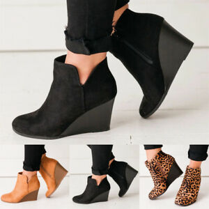Retro Womens Wedge Suede Ankle Boots Side Zip Round Toe Heel Riding Winter Shoes