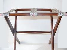 Vintage Wood Wooden Embroidered Brocade Strap Luggage Suitcase Rack Stand Holder