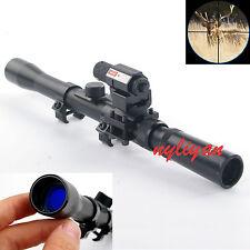 Hunting 3-7X20 Optics Crosshair Rifle Scope& Mini Red Laser Sight&Barrel Mount