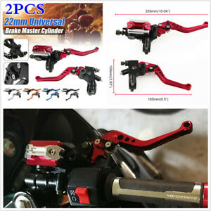 "1 Pair 7/8"" Motorcycle Brake Master Cylinder Clutch Reservoir Levers Universal"