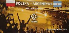 Vip billet or 5.6.2011 polska pologne-ARGENTINA ARGENTINE