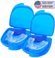 2PCS Stop Snoring Mouthpiece Guard Anti Snore Sleep Bruxism Apnea Teeth Grinding