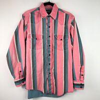 Wrangler Vtg M Striped Pink Blue Vaporwave Aesthetic Long Sleeve Western Shirt