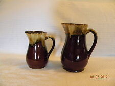 Two Great RRP Co. Brown Drip Milk Pitchers with Two Mccoy Cups