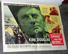 LONELY ARE THE BRAVE 22x28 KIRK DOUGLAS original 1962 movie poster