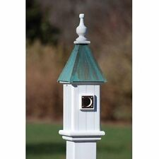 """FANCY HOME PRODUCTS BLUE BIRD HOUSE PATINA COPPER 6"""" DECORATIVE BIRDHOUSE"""