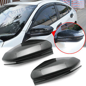 For Honda Civic 2016-2020 Carbon Fiber Side Mirror Cover Cap Direct Replacement