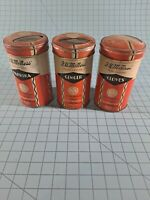F.W. McNess Antique Spice Tins Cloves Ginger Paprika. B15