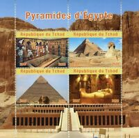 Chad Archaeology Stamps 2020 MNH Pyramids of Egypt Artefacts Architecture 4v M/S