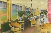 Keuka New York~Keuka Hotel~Porch Dining Room~Yellow Green Wicker~1940s Linen PC