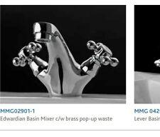 Balmoral Edwardian Basin Chrome Mixer Taps With Chrome Pop Up Waste Brand New