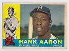 1960 TOPPS HANK AARON MILWAUKEE BRAVES CARD #300 GOOD CONDITION